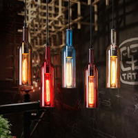 Modern Creative Colorful Wine Bottle Pendant Lights CafeRoom Bar Lamp Single Glass Pendant Lamps Decoration Indoor