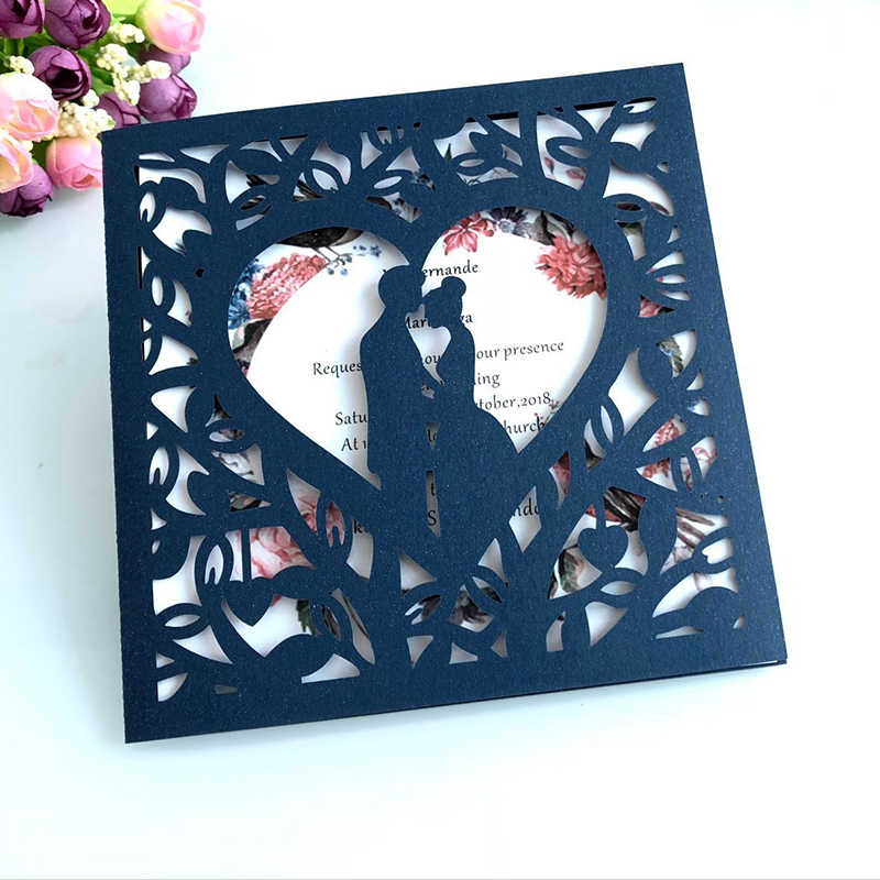 1pcs Blue White Gold Red Hollow Heart Laser Cut Wedding Invitation Card Greeting Card Personalized Party Decoration Supplies