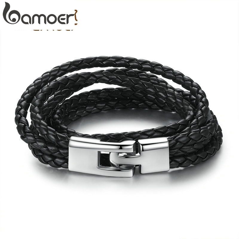 BAMOER Fashion Leather Bracelet Wide Retro Black & Brown Color Chain Bracelets for Men & Women Jewelry pulseras PI0288 Браслет