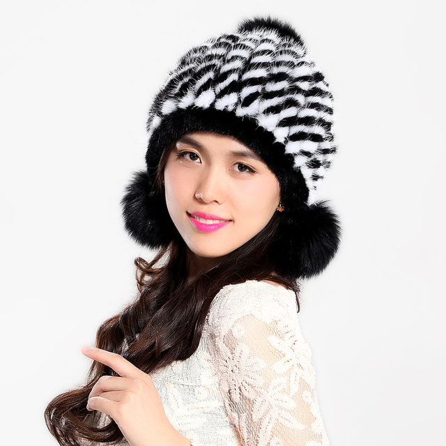 Winter Women's Genuine Real Knitted Mink Fur Beanies Hats with Balls Lady Thermal Caps VF0492