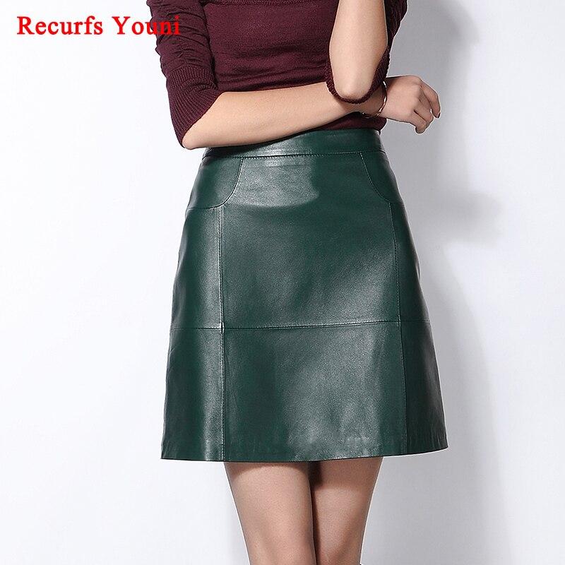 Rys1702 겨울 여성의 새로운 100% 정품 가죽 짧은 치마 숙녀 라인 미디 허리 디자인 슬림 엉덩이 바스트 지퍼 faldas mujer-에서스커트부터 여성 의류 의  그룹 1