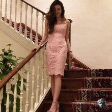 Новое Розовое Кружевное Бандажное платье для женщин элегантное вечернее платье знаменитостей vestidos без рукавов облегающее кружевное Клубное зимнее платье