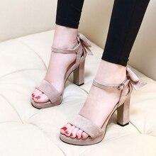 Summer Coarse heel High-heeled Grind Fine belt Buckle Waterproof bowknot Pleasantly cool Ventilation Women sandals