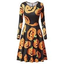 Women Fashion Beach Dress Halloween Personlity Dress Long Sleeve Round Collar Cartoon Printed Party Dresses stylish chainmail round collar long sleeve sheath dress for women