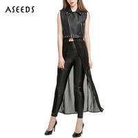 Black PU Leather Jacket Women Chiffon Hem Patchwork Jacket Female Punk Sleeveless Long Coat Zipper Elegant
