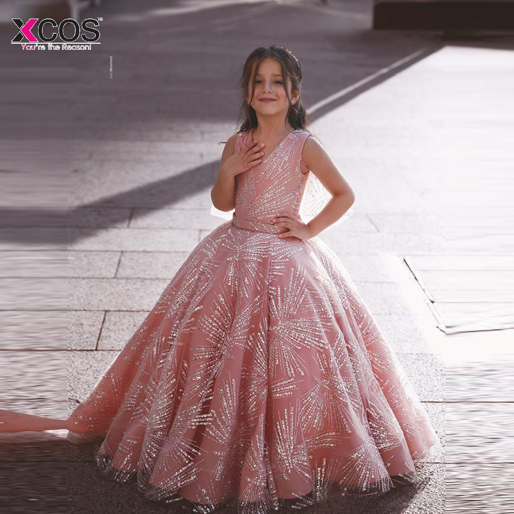 2019 Luxurious Sparkly Pink Flower Girl Dresses Sequined Ball Gown Little Girl Wedding Party Elegant Child Pageant Dresses