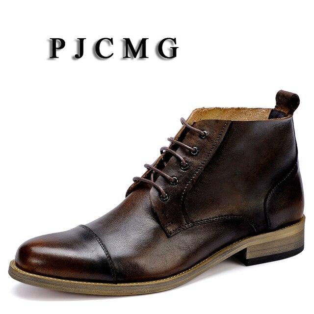 PJCMG Yeni Bahar/Sonbahar Siyah/Kahve Rahat Sivri Burun Dantel-Up Martin Erkek Yüksek Erkek Inek yumuşak Deri Elbise Boots Erkekler Için