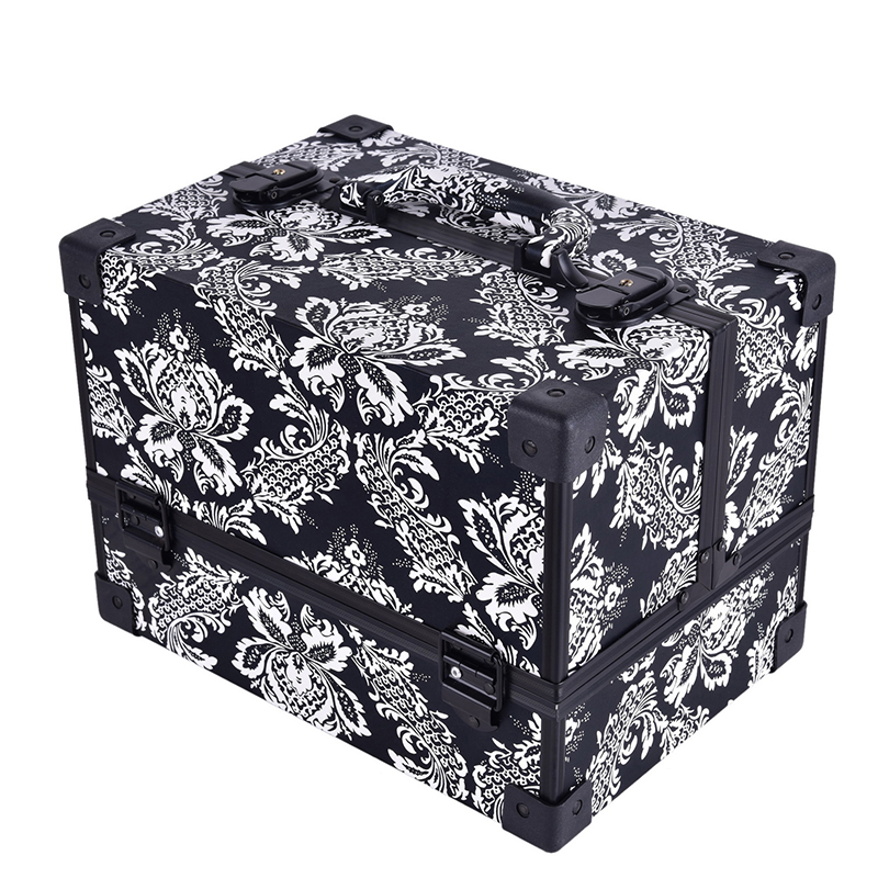 new design Leopard checks leaves ABS PU Make up Box Makeup Case Beauty Case Cosmetic Bag