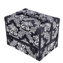 Neue design Leopard kontrollen blätter ABS & PU bilden Box Make-Up Fall Beauty Kosmetiktasche Multi Tiers Abschließbar Schmuckschatulle