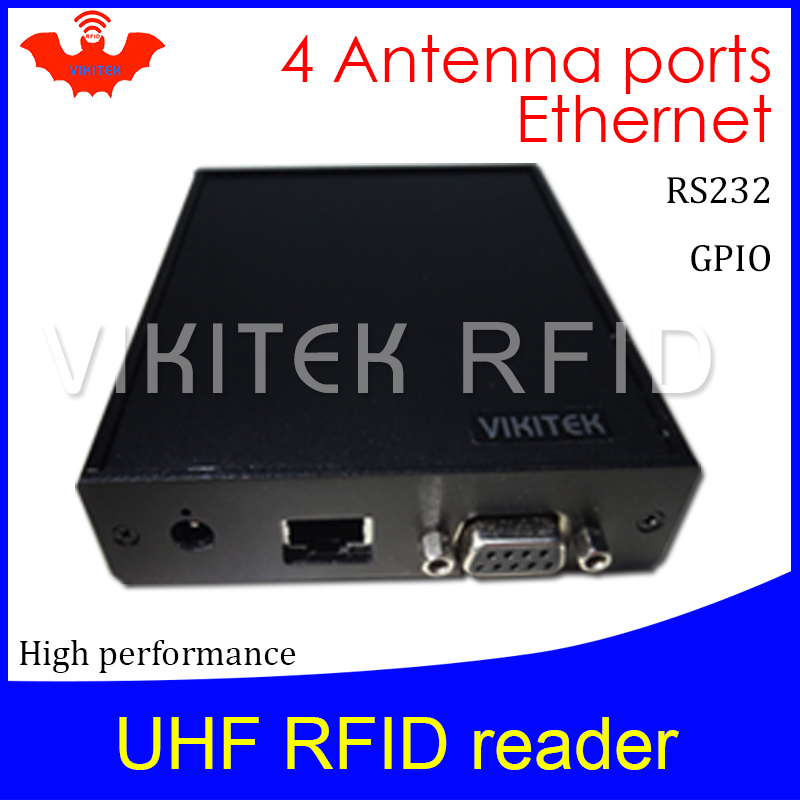 UHF RFID reader 4 antenna port VIKITEK VFR4 Hig performance 915MHZ for warehouse and logistic and production line fixed Reader as19 h1g as19 hig