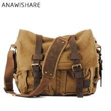 4cf93c38aae5 ANAWISHARE холщовая кожаная сумка через плечо мужская Военная армейская  винтажная сумка-мессенджер большая сумка через