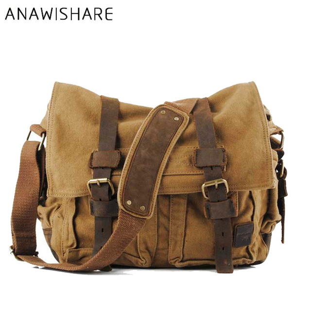 Vintage Schoudertas Heren : Anawishare canvas leather crossbody bag men military army