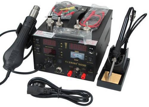 1 pc 220V 700w SAIKE 909D Hot air gun rework station Soldering station 3 in 1 soldering iron+Hot Air Gun+Power Supply