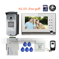 "FREE SHIPPING New 7"" TFT Color Video Door phone Intercom Recording System Outdoor RFID Card Reader Door Camera + Remote + 8G SD"