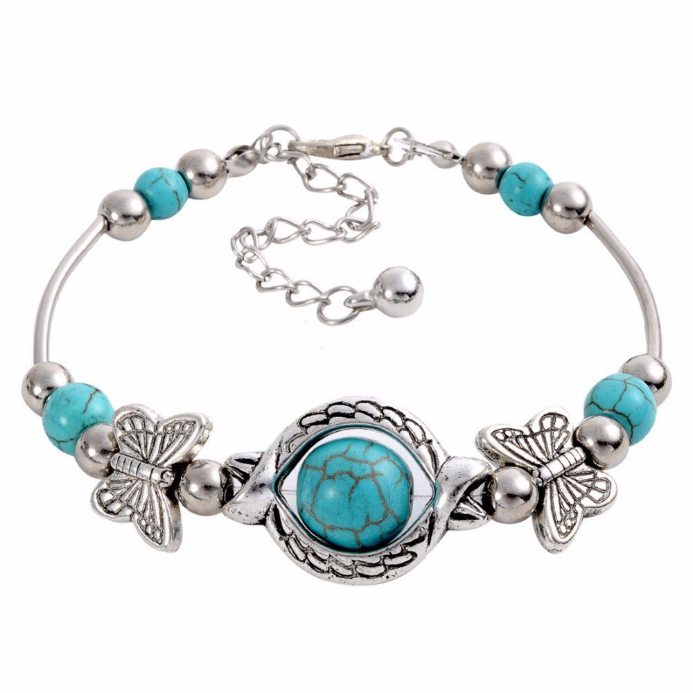 Fashion turquoise bangles bracelet vintage beads butterfly for Turquoise colored fashion jewelry