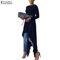 New ZANZEA Women Autumn Long Sleeve Vintage Solid Knitted Casual Slim Long Shirt Irregular Hem Blouse