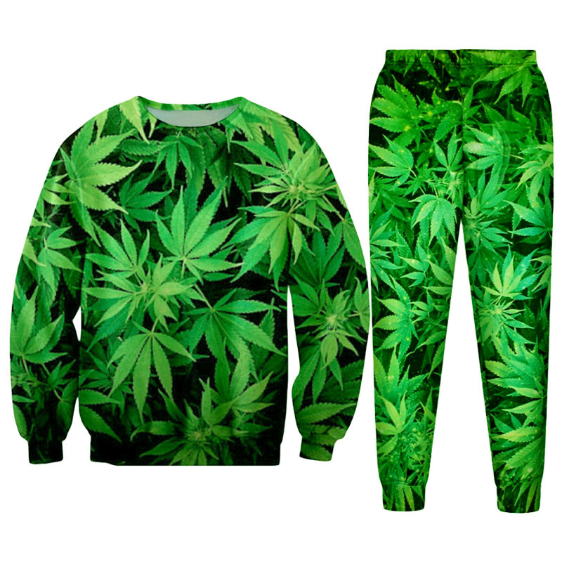 Hipster Streetwear 3D Print Green Hemp Leaf Weeds Women/men Gothic Pullovers Sweatshirts And Long Pants Tracksuits Girls Hoodies