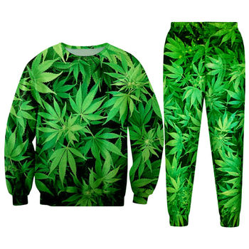 Hipster Streetwear 3D Print Green Hemp Leaf Weeds Women/men Gothic Pullovers Sweatshirts and Long Pants Tracksuits Girls Hoodies american flag usa statue of liberty 3d print sweatshirts men women cool pullovers hoodies boys long sleeves streetwear clothes
