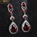 High Quality Luxury Big Teardrop Shaped Dangling Long Created Ruby Red Crystal Rhinestone Drop Earring For Women CZ165