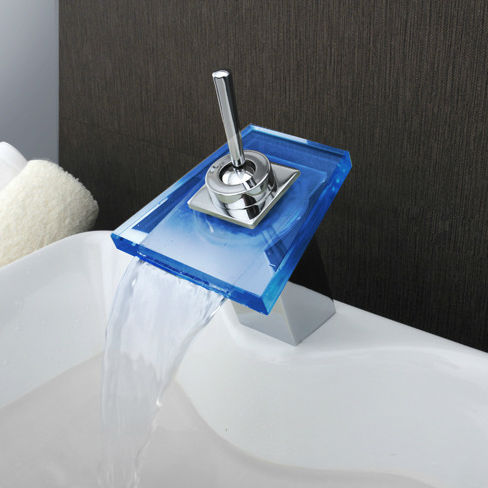Salle de bain cascade robinet à LED salle de bain mélangeur robinet pont monté bassin évier mitigeur cascade laiton bassin robinet