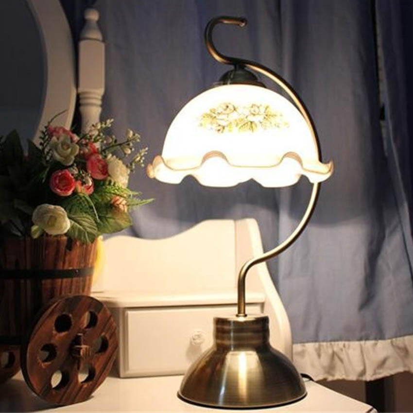 European Retro style Led table lamps white glass orchid pattern ...