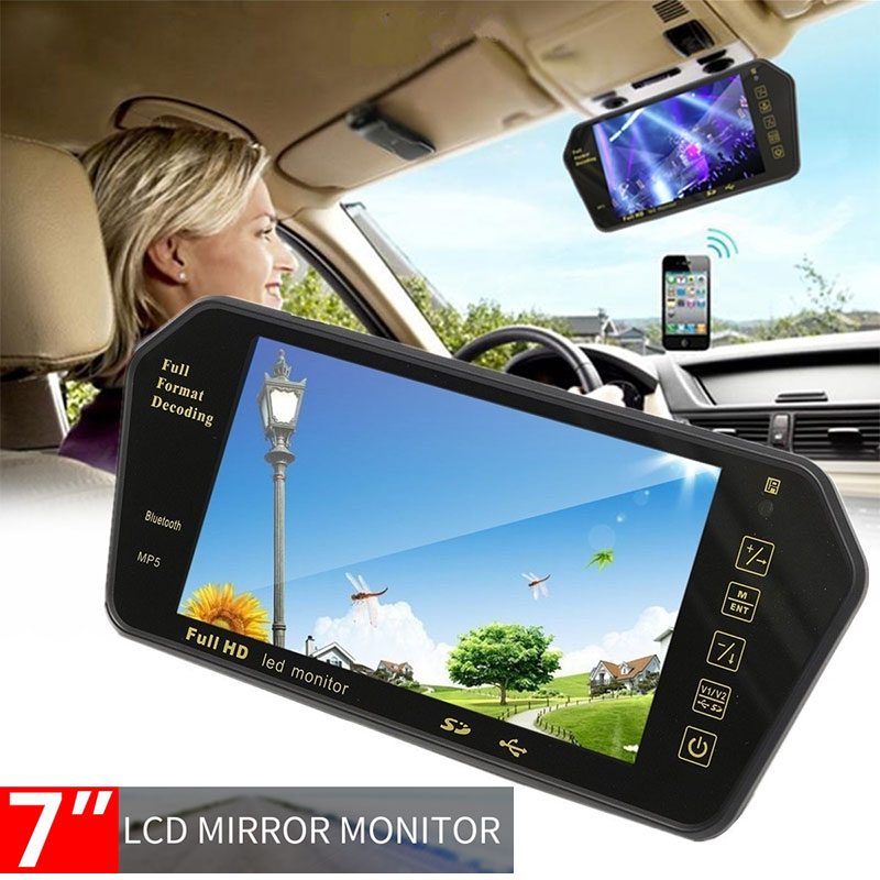 Vehemo 7 Inchces Multi-Function Rearview Mirror Car MP5 Automobile Bluetooth For Fm Transmitter Premium Music Player
