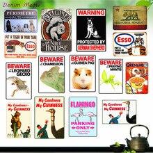 Beware Animals GREMLINS Shabby Chic Metal Wall Decor Farms Life Tin Sign Plaque Bar Pub Coffee Vintage Art Stickers  WY6