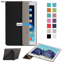 Caso para el ipad de Aire 2, GOLP Ultra Ligero Delgado Color Sólido de LA PU Cubierta de cuero transparente Caja de la PC para el ipad Aire 2/iPad 6