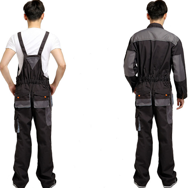 Bib overalls men work coveralls protective repairman strap jumpsuits pants working uniforms plus size sleeveless coverall 1