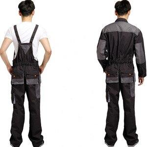 Image 3 - סינר סרבל גברים עבודת סרבל מגן טכנאי רצועת סרבלי מכנסיים עבודה מדים בתוספת גודל 4XL שרוולים סרבל