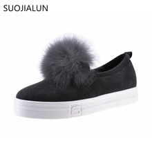 SUOJIALUN Autumn Women Casual Shoes Fur Flats Pom-pon Shoes Silp-On Loafers Platform Sneaker Convenience Elastic Women Flats