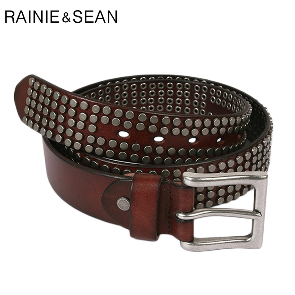 RAINIE SEAN Men's Pin Buckle Belt Genuine Leather Rivet Belts Male Punk High Quality Real Cow Leather Fashion Square Belt Jeans
