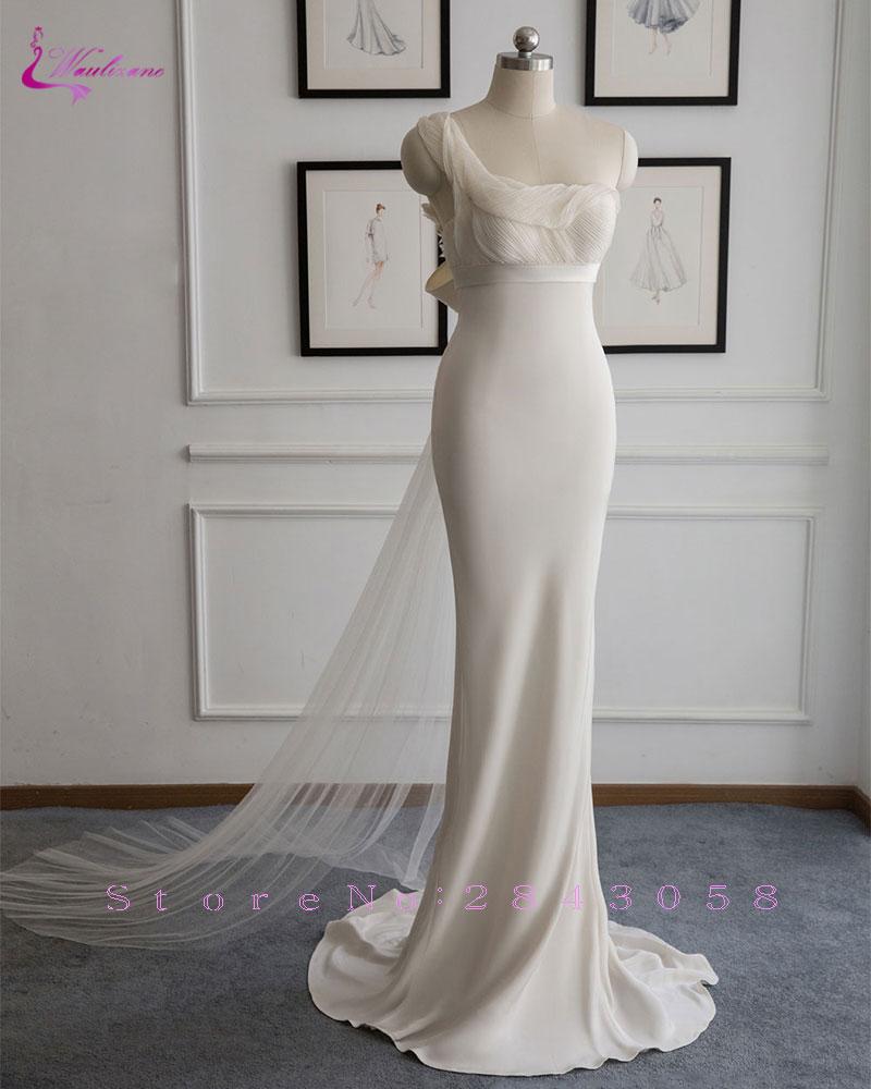 Satin Mermaid Wedding Gown: Waulizane Simple Lustrous Satin One Shoulder Mermaid