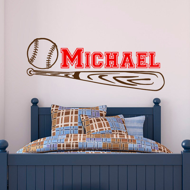 Baseball Wall Stickers Bedroom Removable Vinyl Sticker Customized Name  Sports Wall Decals In Wall Stickers From Home U0026 Garden On Aliexpress.com |  Alibaba ...