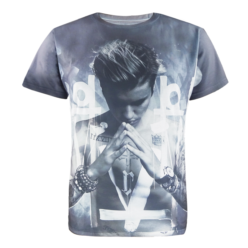 Men Justin Bieber 3D T Shirt Cool Singer Fashion Top Costume Clothing
