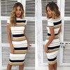 Womens Short Sleeve Bodycon Dress Ladies Summer Striped Dress Size 6-16 Hot Sale Fashion Ladies Round Neck 1