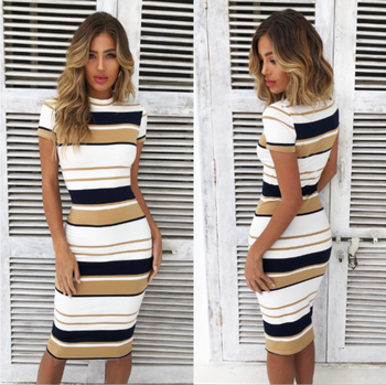 Womens Short Sleeve Bodycon Dress Ladies Summer Striped Dress Size 6-16 Hot Sale Fashion Ladies Round Neck 1