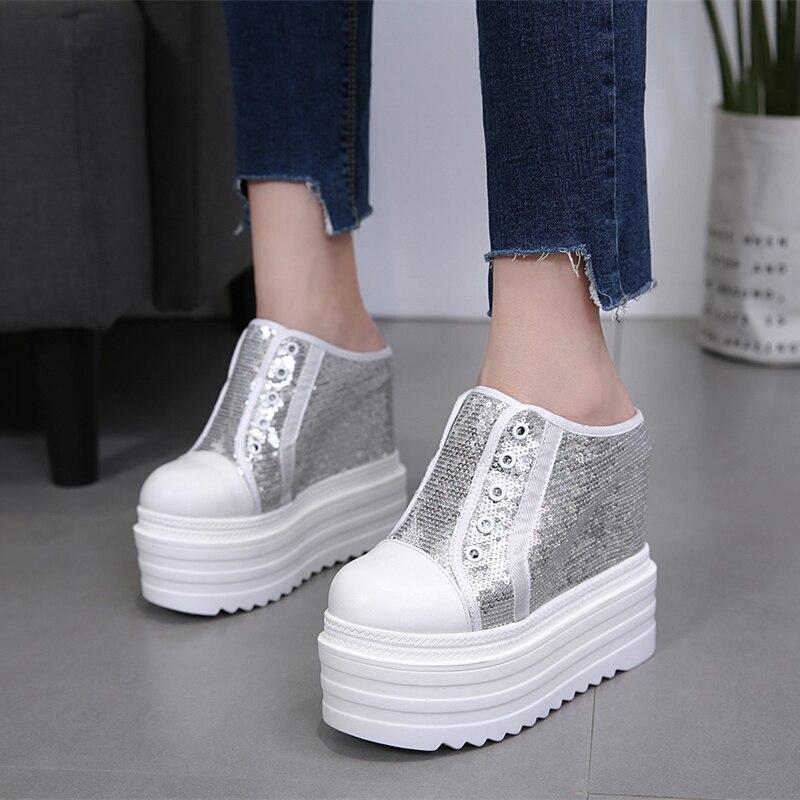 Women s Summer Fashion Outside Wear 15cm Wedges High Heel Leisure Platform Bling Bling Shoes