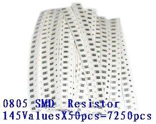 0805 SMD 5% комплект образцов резистора, 1R-1M Ом 146valuesx20 шт. = 2920 шт., бесплатная доставка