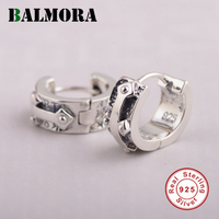 BALMORA 100 Real 925 Sterling Silver Jewelry Letters Hoop Earrings For Women Men Gift Silver Brincos