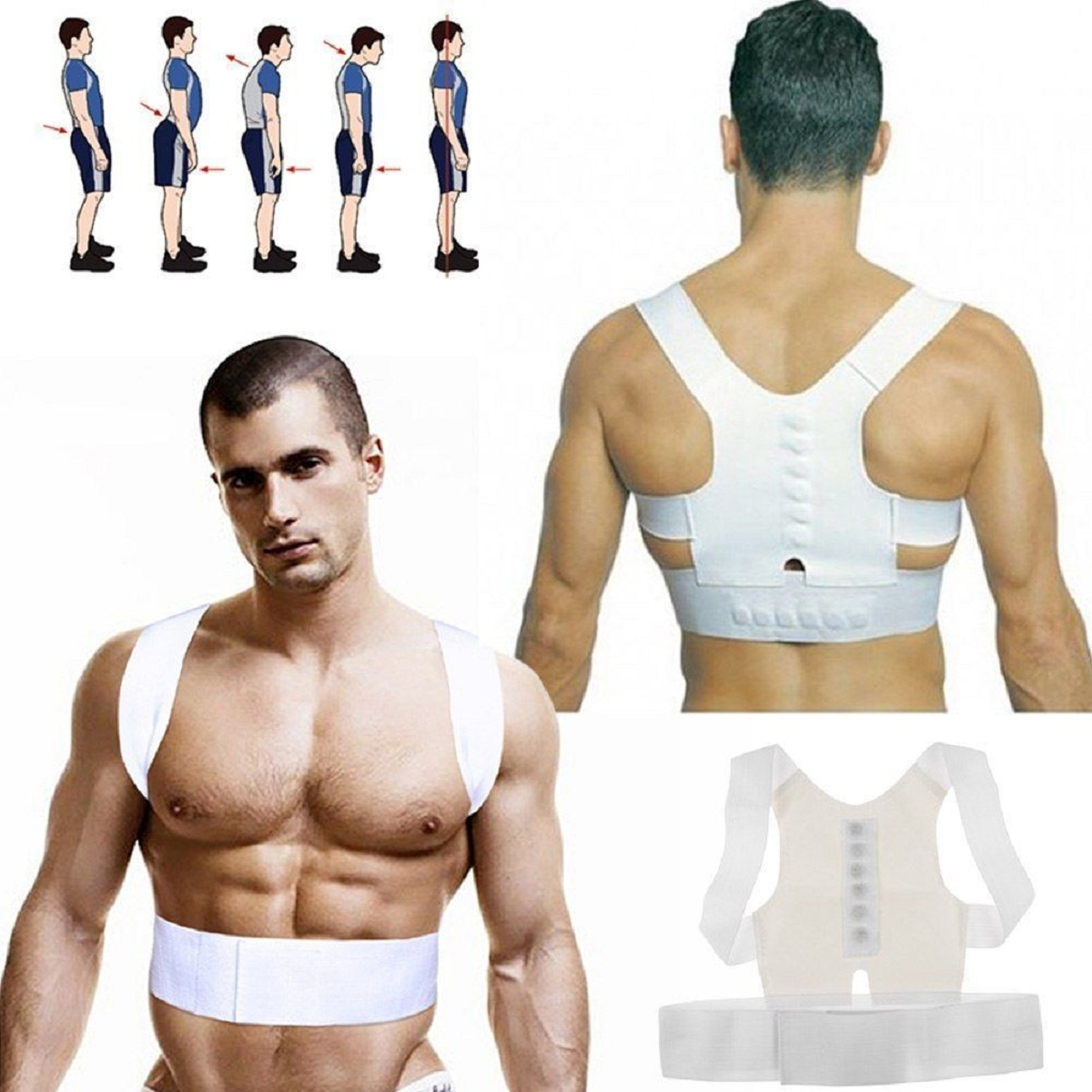 Mrosaa Men Women Posture Corrector Support Magnetic Brace Belt Shoulder Straighten Back Posture Shoulder Support Brace Belt