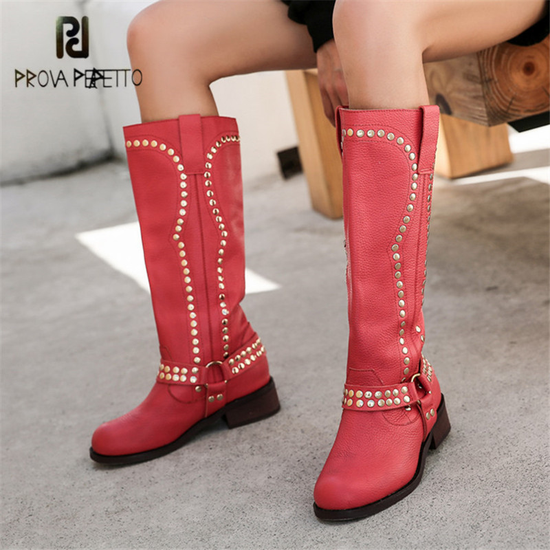 Prova Perfetto Retro Women Knee High Boots Genuine Leather High Boots Platform Rubber Shoes Female Rivets Studded Martin Boot prova perfetto black ankle boots for women rivets studded genuine leather martin boot autumn winter female platform rubber boots
