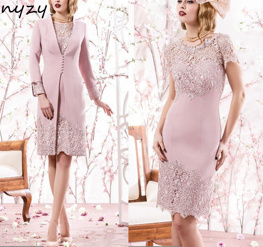 NYZY M19 Satin 2 Piece Vintage Elegant 2018 Mother Of The Bride/Groom Lace Dresses Outfits With Jacket/Bolero Custom Size