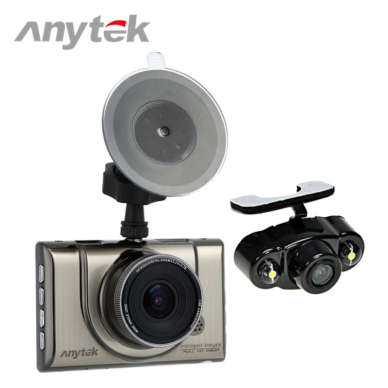 Anytek A100H Car DVR 2 Lens With Rear View Camera Dual Lens Novatek 96655 Dash Cam Full HD 1080P+720P WDR Parking Video Recorder