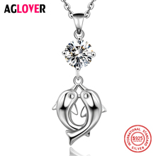 Dolphin Lovers Necklace 925 Silver Fashion Charm Double Pendant 100% Sterling Woman Jewelry