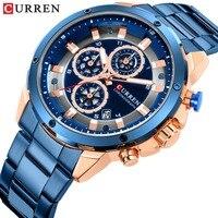 Relogio masculino Marca de Luxo CURREN Homens Relógios Auto Data Chronograph Quartz Watch Casual Esporte Militar Relógio de Pulso Dos Homens de Ouro