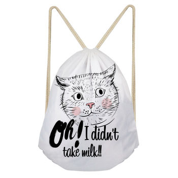 THIKIN de gato de dibujos animados de poliéster haz bolsillo bolsa diaria femenina, saco un Dos clásico lindo Animal de la impresión Mochila niña Mochila