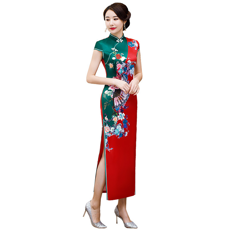 Sheng Coco Sexy Red Silk Satin Cheongsams Dresses Classic Oriental Robe Chinese Novelty Print Fan Flower Qipao 3XL 4XL Women