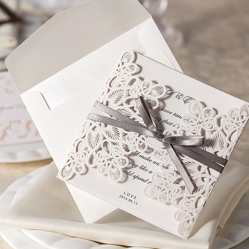 2017 Hot Sale 10pcs/lot White Hollow Out Laser Cut Simple And Elegant With  Grey Ribbon Wedding Invitation Card Free Shipping