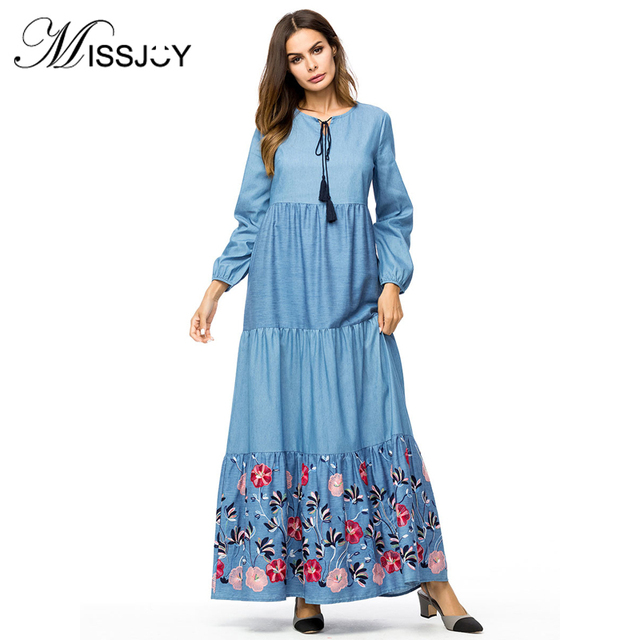 Missjoy Maxi Dress For Plus Size Women Long Sleeve Embroidered